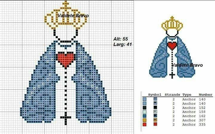Virgencita bordada punto cruz