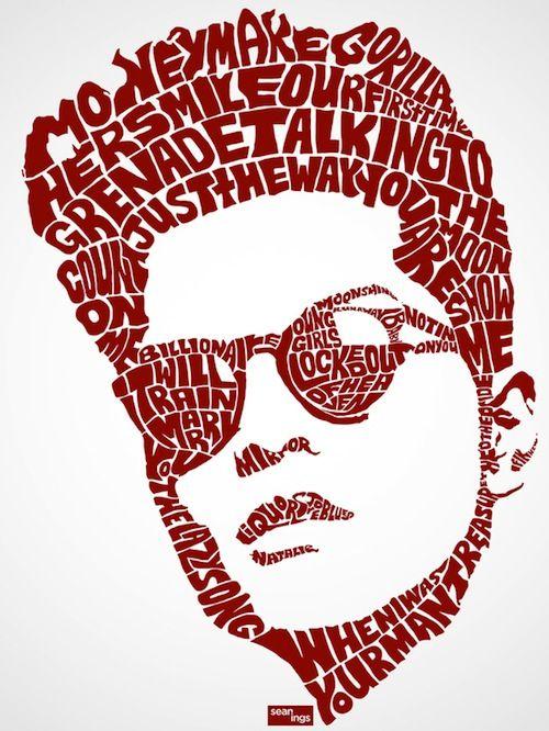 Bruno Mars Typographic Celebrity Portraits Made From Their Famous Lines & Lyrics  Schöne Typo-Arbeiten von Designer Sean Williams der mithilfe von bekannten Sätzen und Lyrics der jeweiligen Popstars und Schauspieler Portraits gezeichnet hat.
