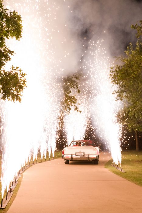 D Weddings | Alexandra Glendenning & Clayton Snodgrass - fireworks and getaway car exit