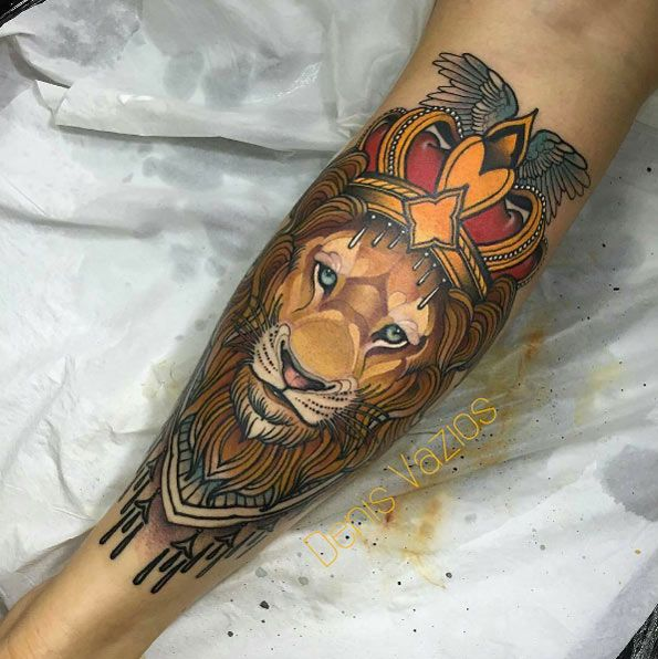 Lion tattoo on calf by Denis Vazios