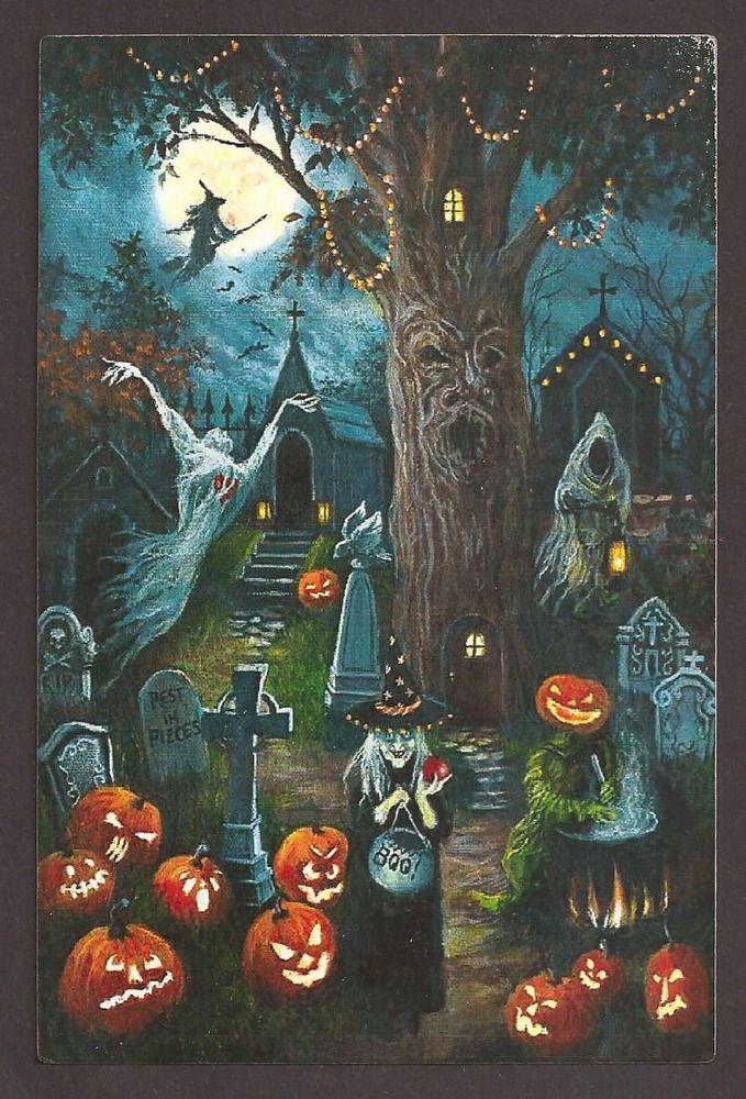 Halloween Witch Ghost Moon Pumpkins Cemetery Postcard Carte Postale,, #Halloween