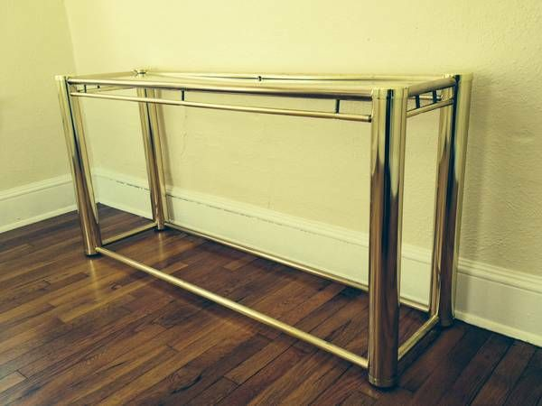 Vintage brass and glass console table asheville nc 65 for Table asheville