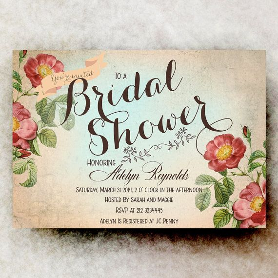 Shabby Chic Bridal Invitation  Cottage Chic by DivineGiveDigital, $21.00