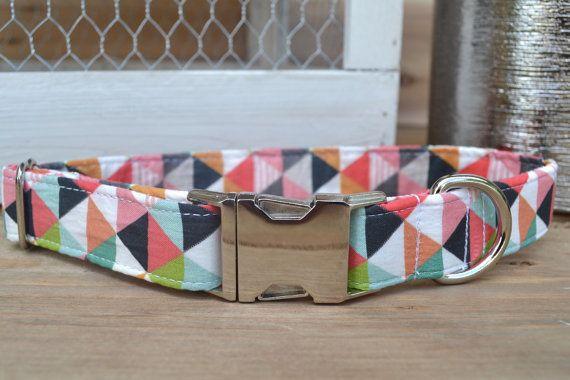 Pretty Geometric Dog Collar Pink Dog Collar by WalkintheBark
