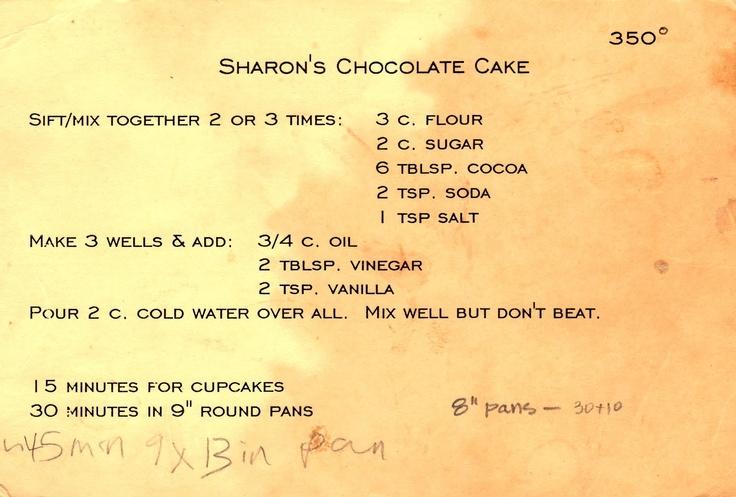 Sharon's Chocolate Cake - Family Recipe Friday