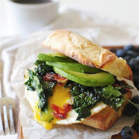 Egg, Kale, Avocado, Sun-Dried Tomato Breakfast Sandwich