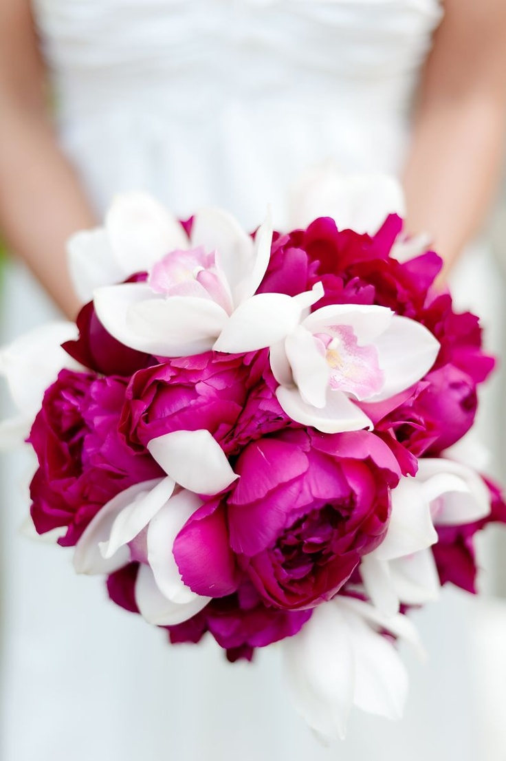 Fuchsia Peonies + White/Pink Cymbidium Orchids Wedding Bouquet  | fuschia wedding | hot pink wedding