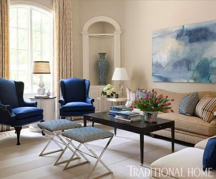 Arkansas Home with a Stylish Palette | Traditional Home. Like the navy chairs and the blue art work