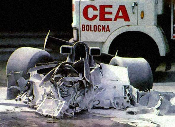 The wreckage of the crash that killed Ronnie Peterson