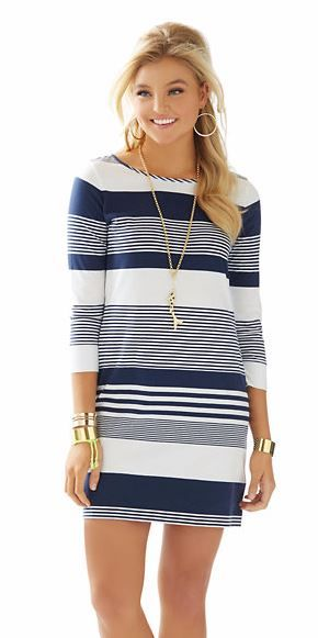Lilly Pulitzer Marlowe Boatneck T-Shirt Dress shown in True Navy Coconut Stripe.