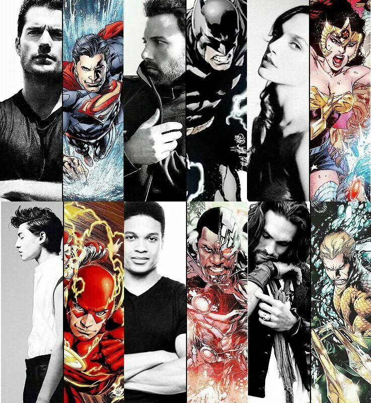 Left to right: Superman (Henry Cavill) Batman (Ben Affeck) Wonder Woman (Gal Gadet) The Flash (Ezra Miller) Cyborg (Ray Fisher) Arthur Curry A.k.A Aquaman (Jason Momoa) .. Ok DC/WB we got the lineup now it's time to wait and see how they play ..
