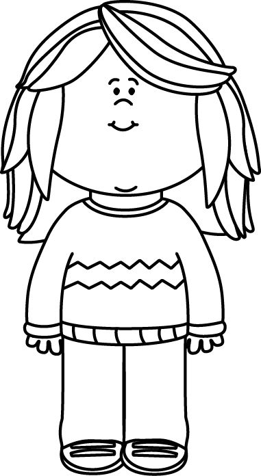 Black and White Girl Wearing a Sweater Clip Art - Black and White Girl Wearing a Sweater Image
