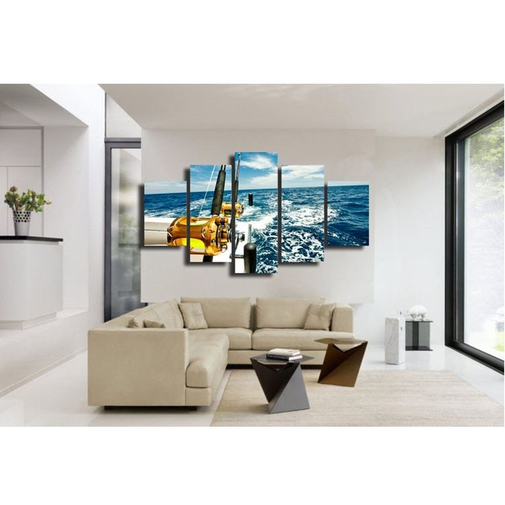 5 Panel Wall Art Fishing Rod   Boat Ocean Wave Part 92