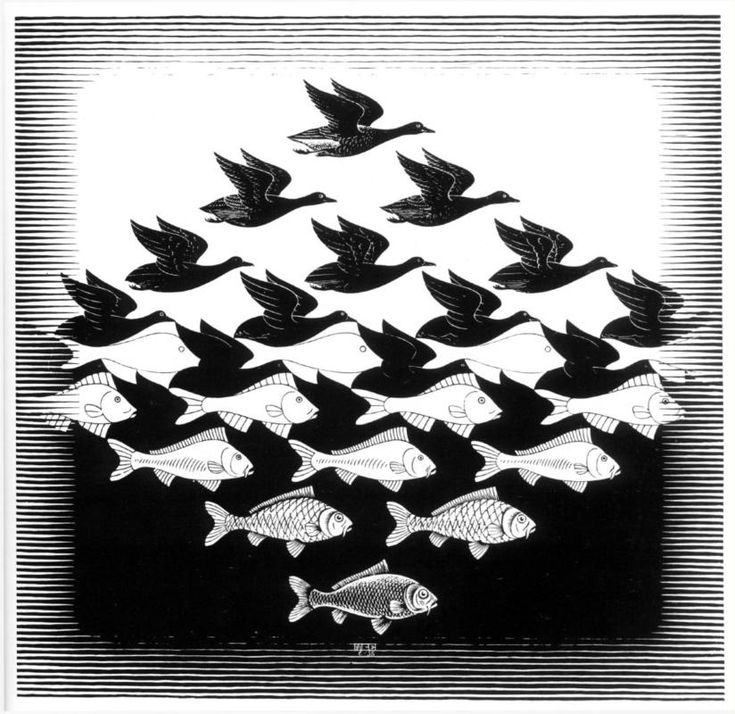 M.C. Escher, Sky and Water I, 1938.   See the Virtual Artist gallery: www.theartistobjective.com/gallery.html