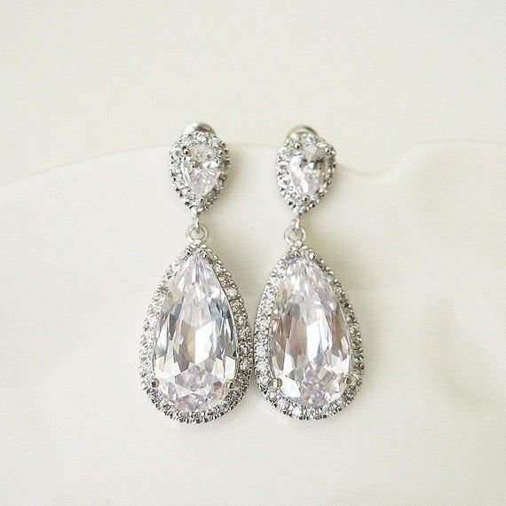 Crystal zircon earrings Bridesmaid Gift clear zircon Teardrop earrings Chandelier zircon earrings Zircon earrings wedding earrings