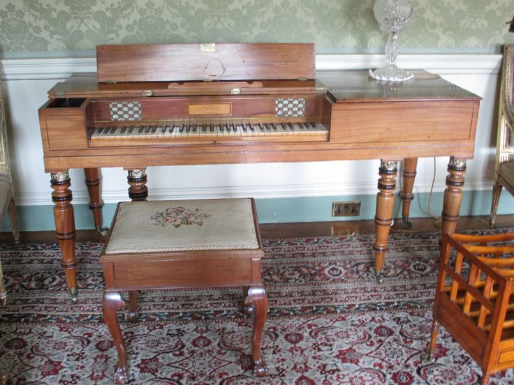 Introduced into Britain in 1767, this early 19th century square table piano can be seen and heard in the Long Drawing Room, Culzean Castle.  Maker: John Hingston, Fitzroy Square, London.  Has removable legs and can be placed on a tabletop.  Employs the short octave system.
