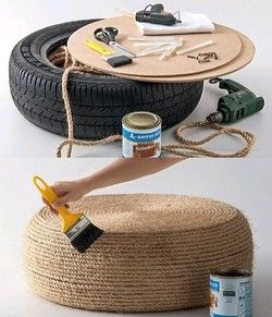 Recycle old  tyre into an ecological puff!  You know that bald tyre that would just go to waste? You can create an ecological puff with it! This is a step by step image to show you how to DIY....
