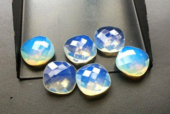 6 Pcs Fire Opalite Stones Opalite Cushion Cut by gemsforjewels