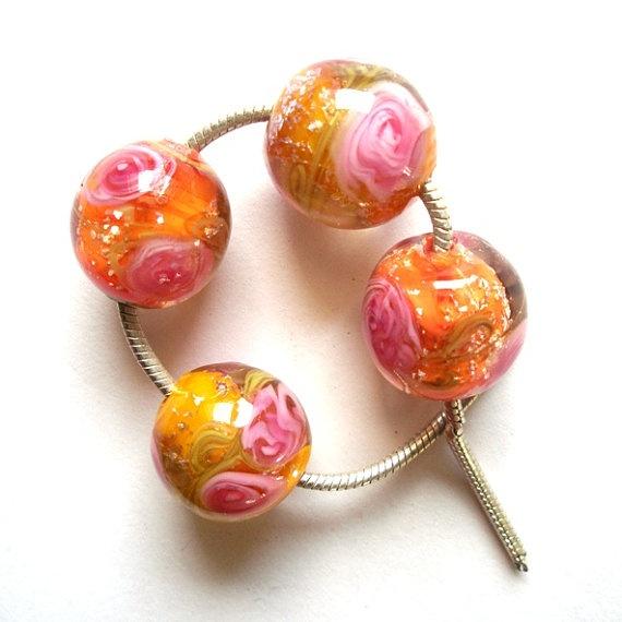juicy summer garden lampwork beads 2 earring sets by rglampwork