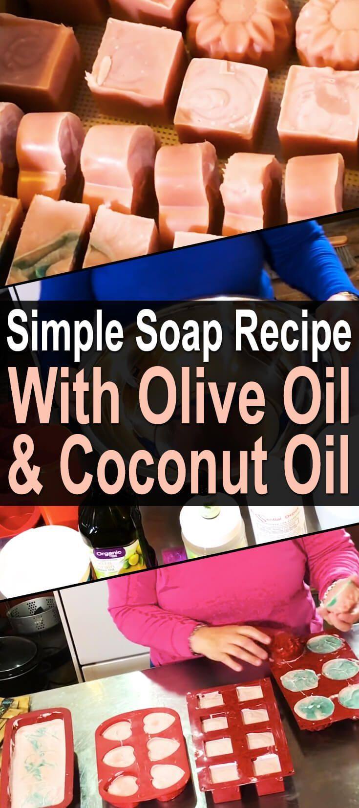 Simple Soap Recipe With Olive Oil. Nowadays, even basic bar soap is full of strange, caustic chemicals and perfumes. I don't need any of that. I just need something that will clean my skin and leave it feeling nice and soft. Something made with coconut or olive oil, perhaps... or both! Which is why I love this soap recipe. #Homesteadsurvivalsite #Soaprecipe #DIY #Oliveoil