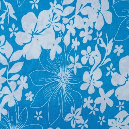 Modnilatky.cz ......Bavlna vzor květ modro/bílá