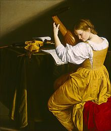 Orazio Gentileschi's young lutenist, painted ca 1626, plays a 10-course lute, typical of the time from around 1600 AD through the 1630s.