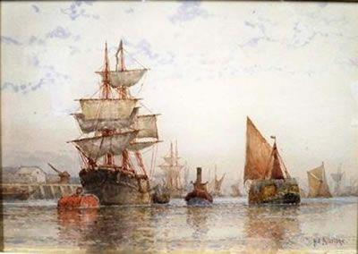 On the Thames - Frederick James Aldridge - Artist