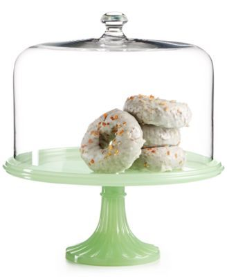 Martha Stewart Milk Glass Ruffle Cake Stand With Dome
