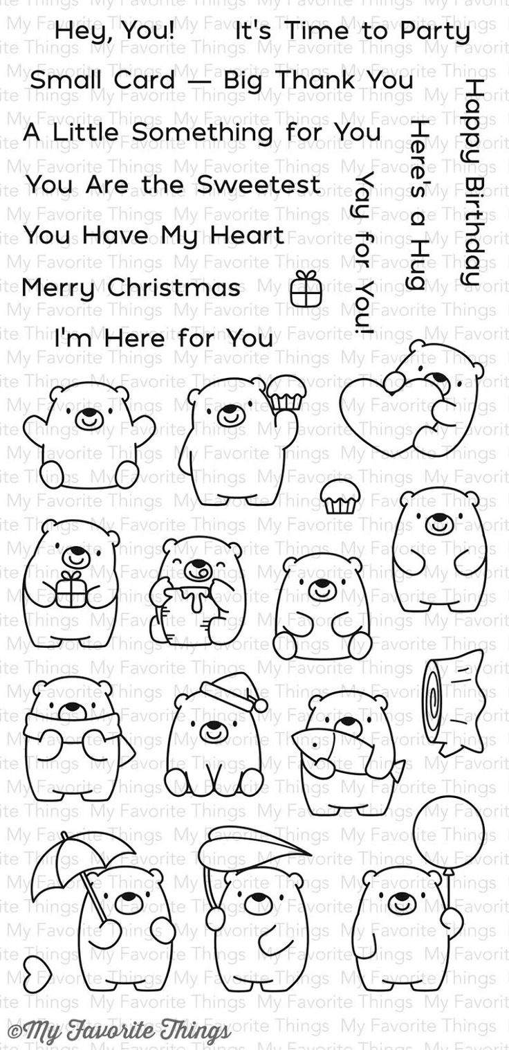 MFT Bitty Bears Die-namics #mftstamps stamp set with tiny bears good for tags