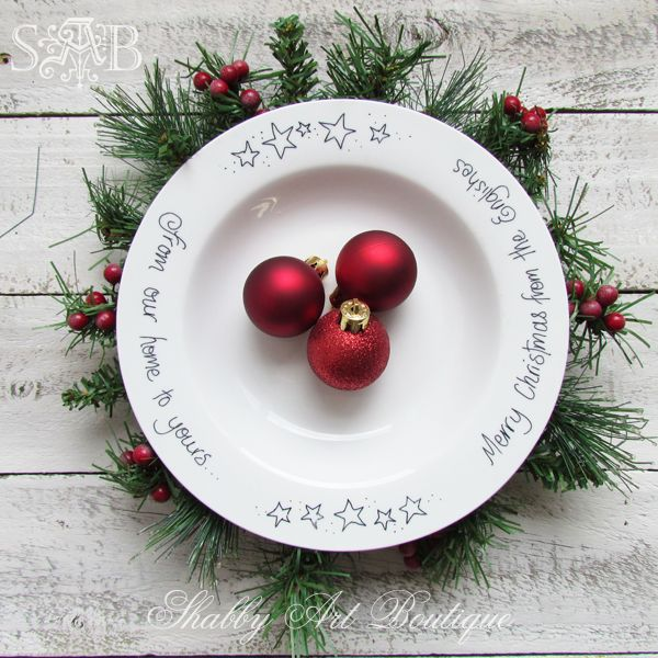 shabby art boutique sharpie plate 1 - Decorative Christmas Plates
