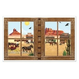 Muurposter Western View -  Een prachtige grote decoratie om op de muur te plakken. Het idee is dat het net lijkt alsof u naar buiten kijkt. Perfect voor country en western feesten. Afmeting: 155 x 95cm.   www.feestartikelen.nl