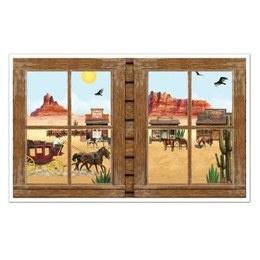 Muurposter Western View -  Een prachtige grote decoratie om op de muur te plakken. Het idee is dat het net lijkt alsof u naar buiten kijkt. Perfect voor country en western feesten. Afmeting: 155 x 95cm. | www.feestartikelen.nl