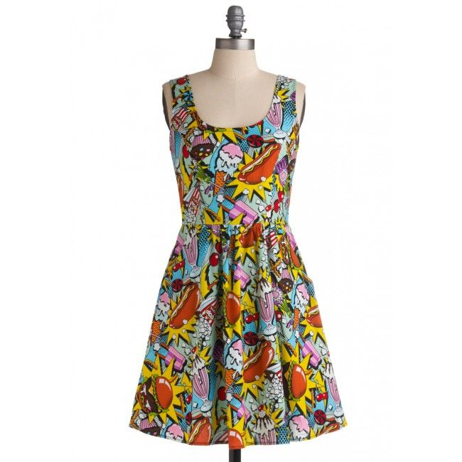 It's the Foodie dress  - the Snack Attack dress!  This bright pop art style dress features a print of hot dogs, ice cream and popcorn...classic munchies to get you in that summertime mood. - See more at: http://www.sweetechoplus.com/dresses/retrolicous/snack-attack-dress.html