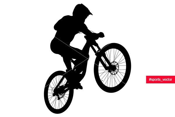 Jump Athlete Rider Mtb Downhill Black Silhouette Downhill Mtb Bike Silhouette Mtb
