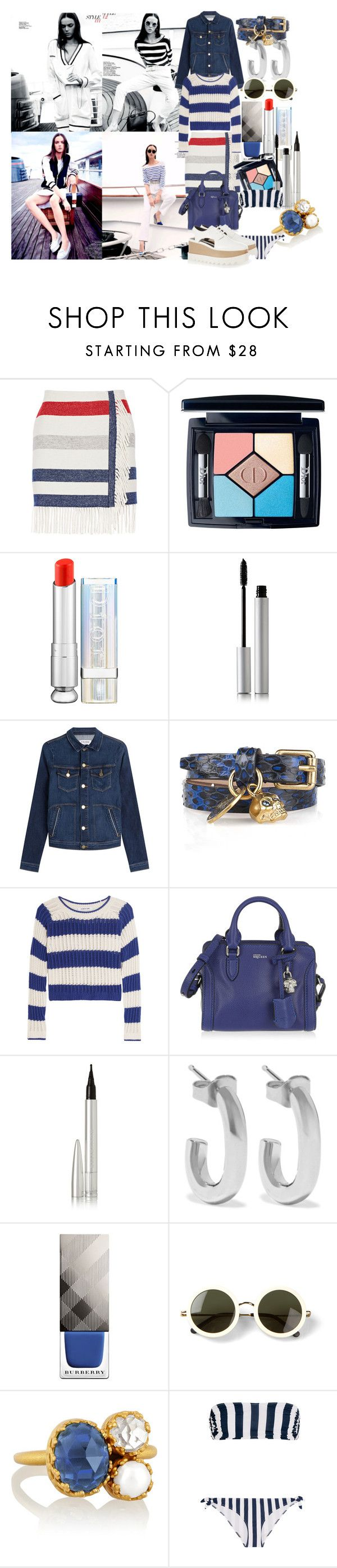"""""""On the boat"""" by brownish ❤ liked on Polyvore featuring Paul & Joe, Christian Dior, rms beauty, Frame Denim, Alexander McQueen, Elizabeth and James, Ellis Faas, Jennifer Fisher, Burberry and The Row"""