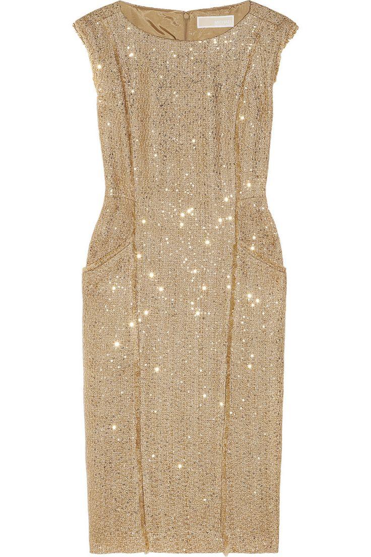 MICHAEL Michael Kors|Sequined metallic bouclé dress|NET-A-PORTER.COM