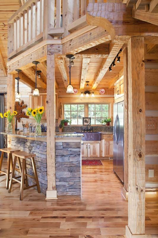 Kitchen with stacked stone bar area