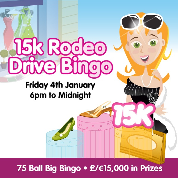 Rodeo Drive only has the best of 75 ball bingo and on Friday January 4th it gets even better as Rehab Bingo brings £/€15,000 in minimum prizes that must be won between 6pm and midnight.    • £/€15,000 in prizes  • 6pm to midnight  • Rodeo Drive uk 75 bingo room  • Big Bingo Linx Game at 9.30pm for £/€1,000  • BOGOF games, 1tg 2tg bonus games and tickets from just 10p    Click on the image to know more