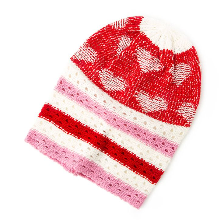Keep cozy & cute with our Hearts and Stripes Knit Beanie!