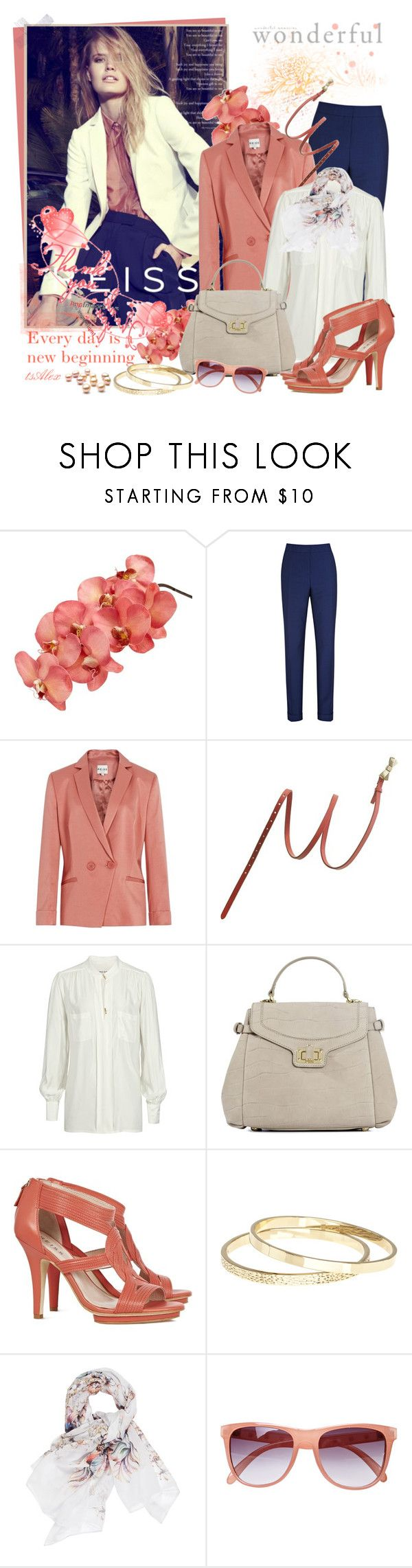 """""""Everyday is a new beginning"""" by ts-alex ❤ liked on Polyvore featuring Reiss, Madewell, Retrò, strappy sandals, floral scarves, blazers, slim fit pants, reiss, oversized shirt and beige handbag"""