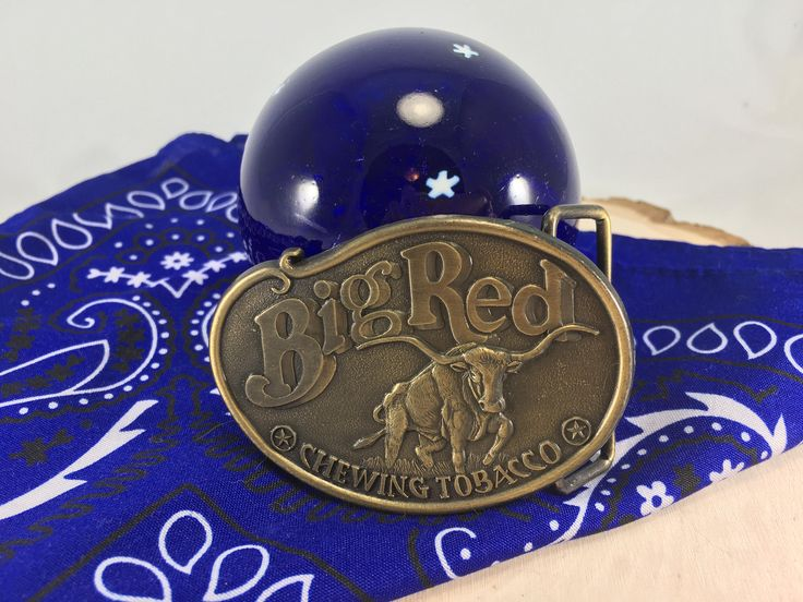 Vintage Big Red Chewing Tobacco Brass Belt Buckle, Big Red Bull, Belt Buckles by BessyBellVintage on Etsy