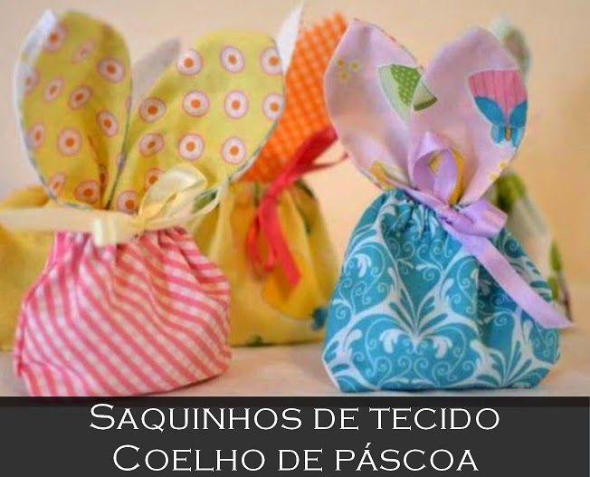Como fazer saquinhos de tecido coelho de páscoa ~ VillarteDesign Artesanato