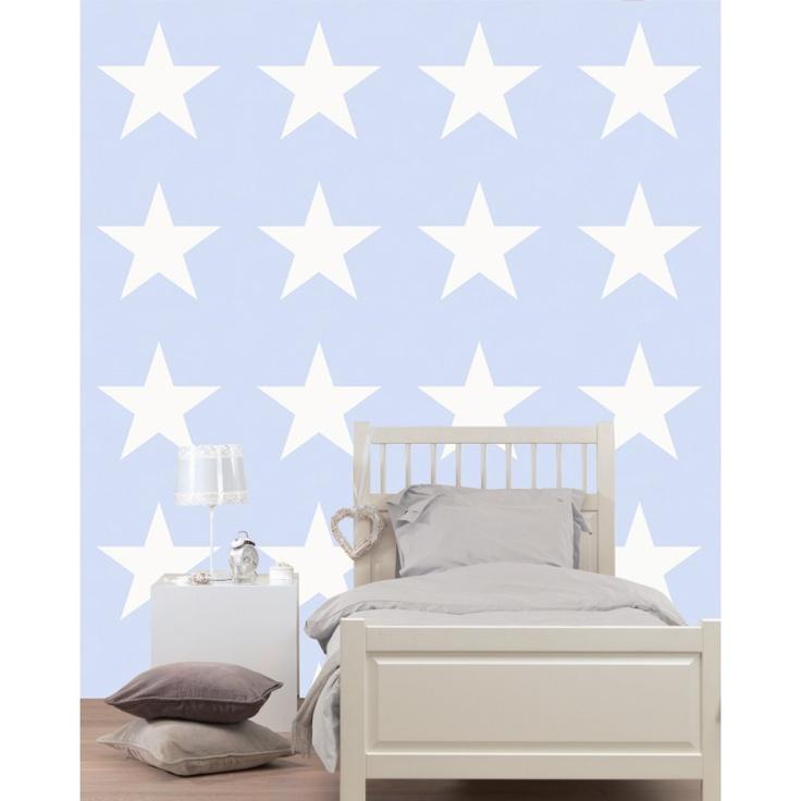 TAPET | Lyse blå med store hvite stjerner - Stjerner - Gutterommet