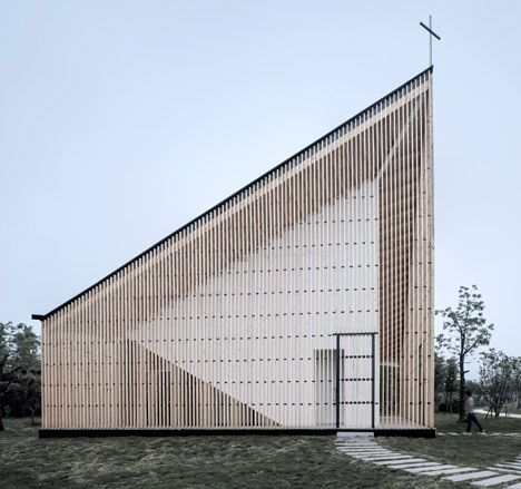 Garden chapel featuring semi-transparent walls and a butterfly roof.