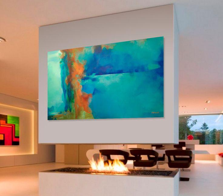 Abstrakte malerei t rkis blau gr n orange moderne for Acrylbilder wohnzimmer