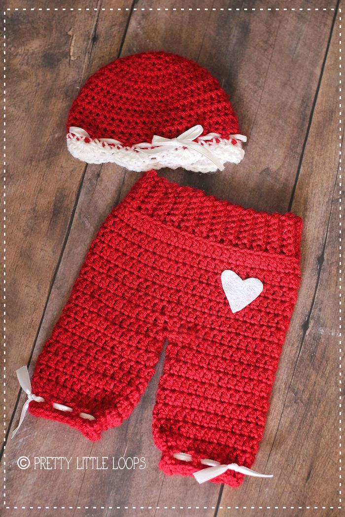 Free Crochet pattern- Valentine Beanie I love the pants.