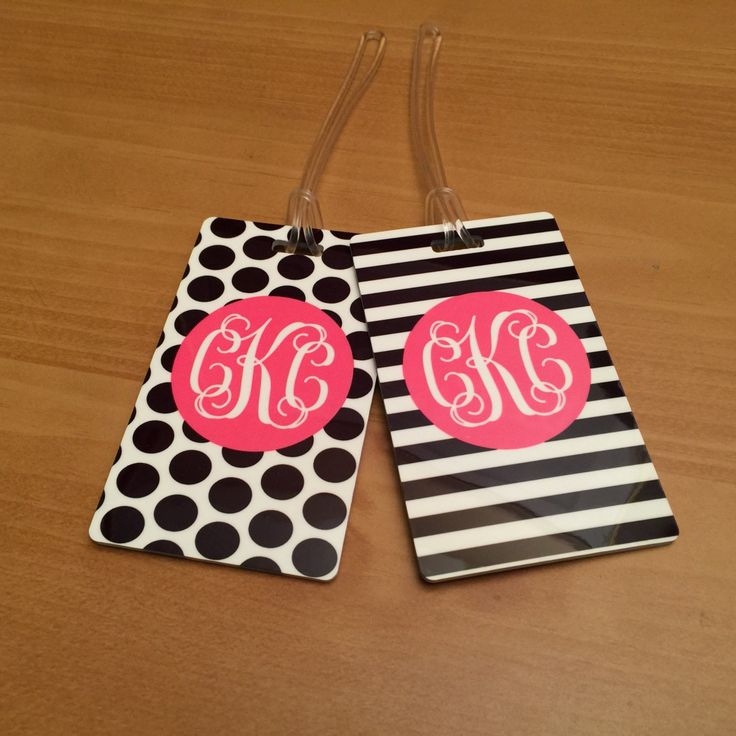 TWO Monogrammed Luggage Tags - Personalized Luggage Tag Set - Pair of Luggage Tags - Preppy Bag Tags by MJMonograms on Etsy