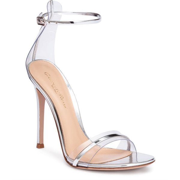 Portofino 105 Pvc-Trimmed Silver Sandals ($805) ❤ liked on Polyvore featuring shoes, sandals, metallic, high heels sandals, silver high heel shoes, metallic sandals, high heeled footwear and silver sandals