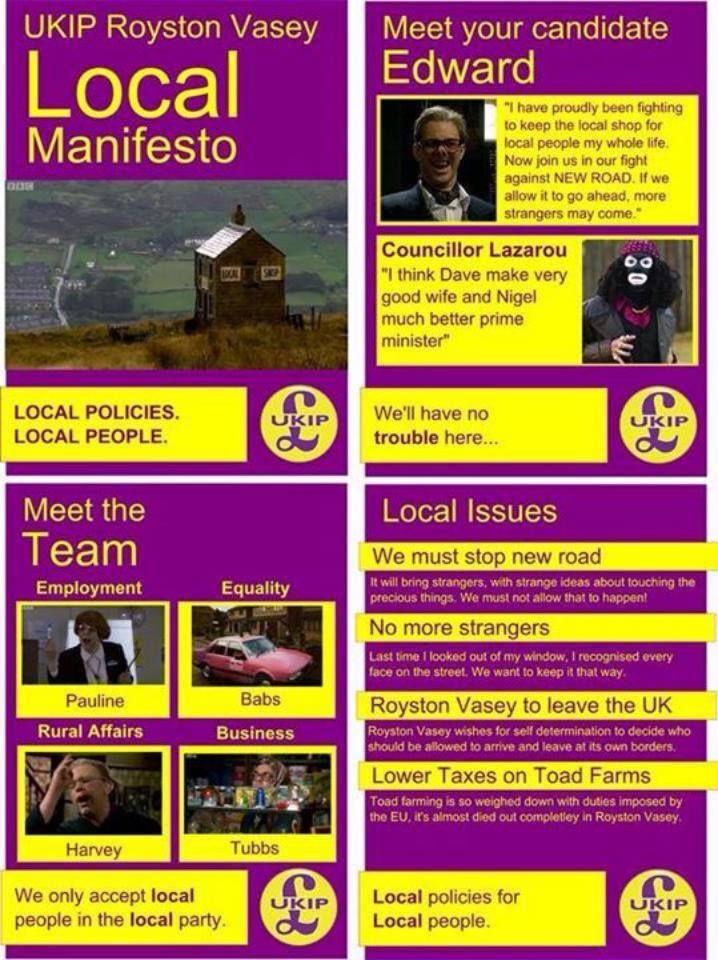 The UKIP manifesto for Royston Vasey.