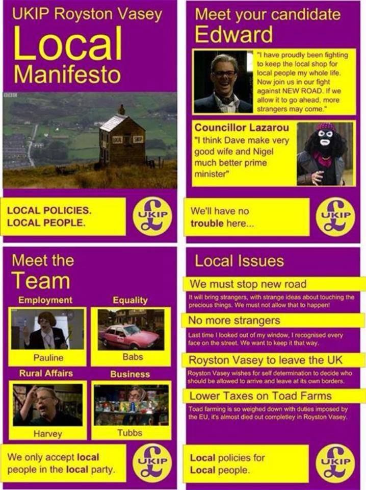 The #UKIP manifesto for Royston Vasey. Genuis.